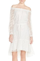 Women's Adelyn Rae Lace Off The Shoulder Dress With High Low Ruffle Hem