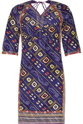Isabel Marant Tacey Open Back Embroidered Printed Silk Satin Mini Dress Multi