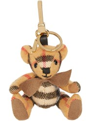Burberry Thomas Bear Charm In Vintage Check Cashmere Yellow And Orange