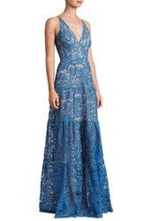 Dress The Population Women's Melina Lace Fit And Flare Maxi