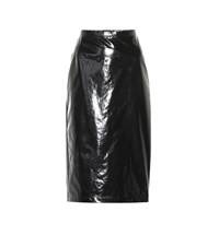 N 21 Lacquered Cotton Pencil Skirt Black