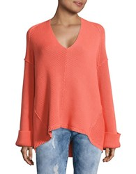 Free People Le Brea Ribbed V Neck Sweater Coral