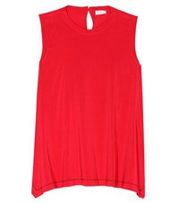 Brunello Cucinelli Sleeveless Silk Blend Blouse Red