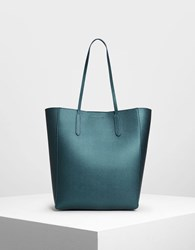 Charles And Keith Classic Tote Bag Teal