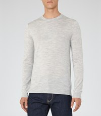 Reiss Hart Mens Merino Crew Neck Jumper In Grey