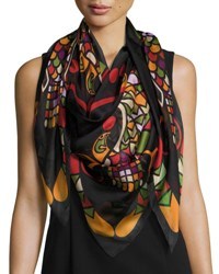Givenchy Egyptian Wings Square Silk Chiffon Shawl Multicolor Multi Pattern
