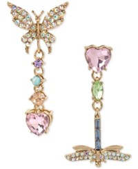 Betsey Johnson Gold Tone Multi Stone Butterfly And Dragonfly Mismatch Drop Earrings