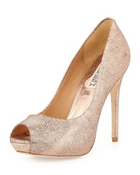 Badgley Mischka Lust Metallic Peep Toe Pump Rose Gold