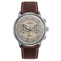 Junghans 027 3684.00 Men's Meister Driver Chronoscope Leather Strap Watch Brown Grey