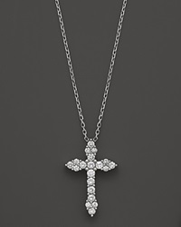 Bloomingdale's Diamond Cross Pendant Necklace In 14K White Gold .50 Ct. T.W.