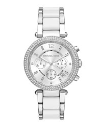 Michael Michael Kors 39Mm Crystal Chronograph Bracelet Watch White