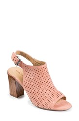 Adam Tucker By Me Too Women's Adam Tucker 'Meridia City' Perforated Slingback Peep Toe Sandal Coral Burnished Kid