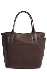 Frye Paige Leather Tote Brown Dark Brown