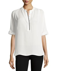 Vince Contrast Trim Half Sleeve Blouse Off White Black