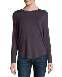 Neiman Marcus Basic Crewneck Long Sleeve Tee Grey Smoke