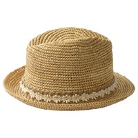 Fat Face Floral Lace Band Straw Trilby Hat Natural