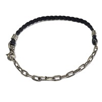 Title Of Work Braided Leather To Curb Chain Bracelet