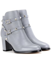 Valentino Rockstud Leather Ankle Boots Grey