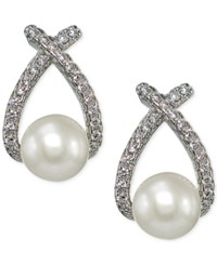 Giani Bernini Freshwater Pearl 6 1 2Mm And Cubic Zirconia Drop Earrings In Sterling Silver Only At Macy's