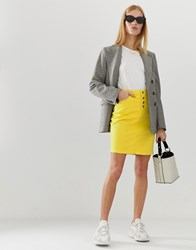 B.Young Colourblock Denim Skirt Yellow