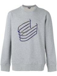 Lanvin Bimbo Bead Embroidered Sweatshirt Men Cotton Wool L Grey
