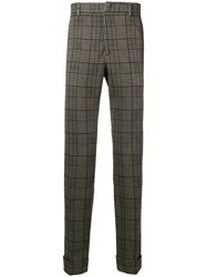Paolo Pecora Checked Slim Fit Trousers Nude And Neutrals