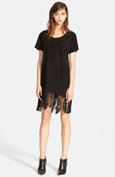 Rta Fringe Trim Suede Dress Black Suede