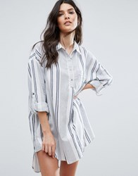 Vila Oversized Stripe Shirt Dress Multi