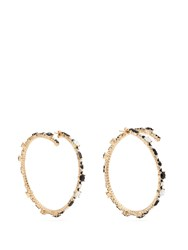 Valentino Crystal Hoop Earrings Silver