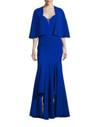 Alberto Makali Two Piece Sleeveless Sweetheart Neck Gown And Cape Set Cobalt