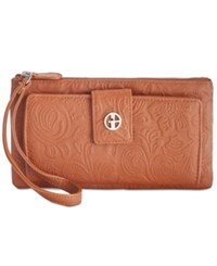 Giani Bernini Tooled Grab And Go Wallet Wristlet Created For Macy's Tobacco