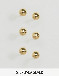 Asos Sterling Silver Gold Plated Pack Of 3 Ball Stud Earrings Gold