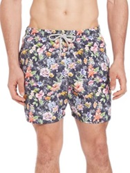 Saks Fifth Avenue Floral Print Swim Trunks Blue Multi