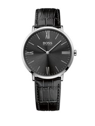 Hugo Boss Jackson Stainless Steel Sunray Dial Leather Strap Watch Black