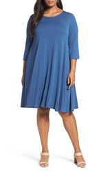 Eileen Fisher Plus Size Women's Lightweight Jersey Shift Dress Denim
