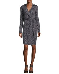 Diane Von Furstenberg Jelsa Silk Jersey Faux Wrap Dress Stella Mini Black
