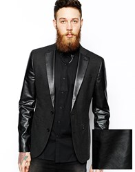Asos Slim Fit Blazer With Faux Leather Trim And Zips Black