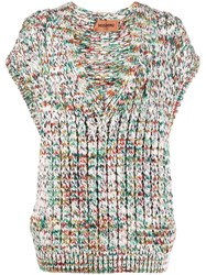 Missoni Sleeveless Cable Knit Top White