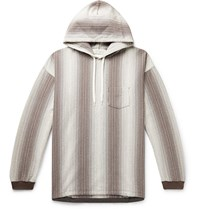 Remi Relief Striped Cotton Jersey Hoodie Brown