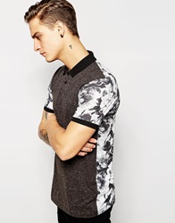 Asos Polo Shirt With Floral Print Back And Nepp Front Grey