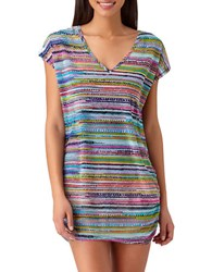Anne Cole Braided Striped Short Sleeve Tunic Multicolor