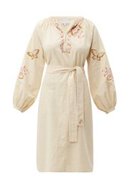 Luisa Beccaria Butterfly Embroidered Cotton Blend Kaftan Cream Multi