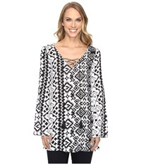 Roper 0804 Aztec Print Tunic Top Black Women's Clothing