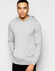Asos Fitted Fit Hoodie In Lightweight Stretch Jersey Gray Marl