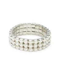 Catherine Stein Faux Pearl Three Row Stretch Bracelet White
