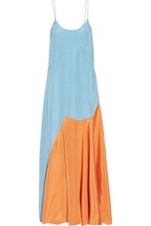 Roksanda Ilincic Blain Color Block Silk Blend Satin Maxi Dress Sky Blue