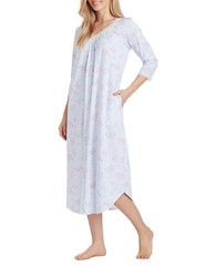 Carole Hochman Medallion Cotton Jersey Long Nightgown Blue Print