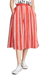 Etre Cecile Stripe Amelie Skirt Red White
