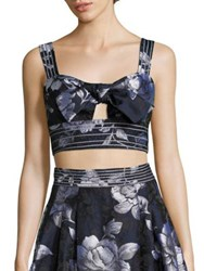 Abs By Allen Schwartz Tie Front Cropped Bustier Top Midnight Blue