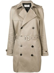 Saint Laurent Double Breasted Trench Coat Neutrals